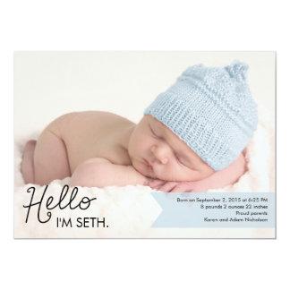 Faire-part de naissance chic d'introduction - bleu