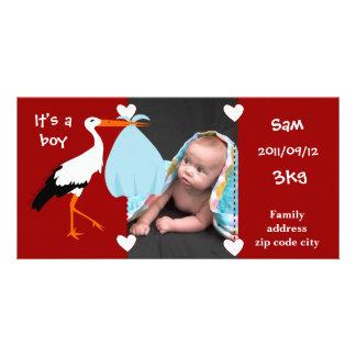 Faire-part de naissance Cigogne It s a boy Cartes De Vœux Avec Photo