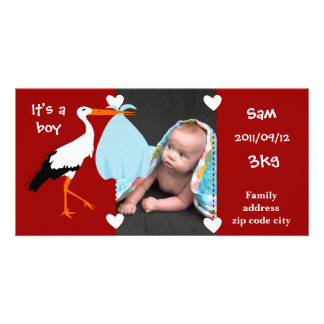 Faire-part de naissance Cigogne It's a boy Photocarte