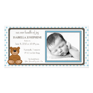 Faire-part de naissance customisé par bleu d ours cartes avec photo