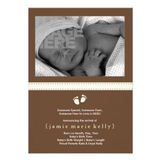 Faire-part de naissance d étapes de bébé - menthe