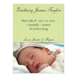 Faire-part de naissance de bébé carton d'invitation  13,97 cm x 19,05 cm