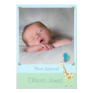 Faire-part de naissance de bébé avec la girafe carton d'invitation  12,7 cm x 17,78 cm