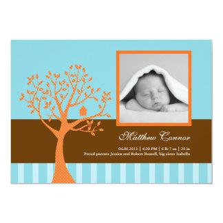 Faire-part de naissance de bébé d'arbre de chute