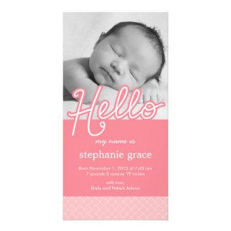 Faire-part de naissance de bébé de bonbon bonjour carte avec photo