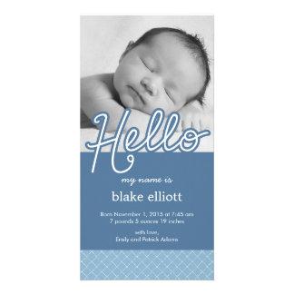 Faire-part de naissance de bébé de bonbon bonjour photocarte customisée