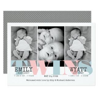 Faire-part de naissance de bébé de jumeaux de bleu