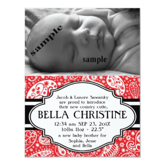 Faire-part de naissance de bébé de Paisley de pays Carton D'invitation 10,79 Cm X 13,97 Cm