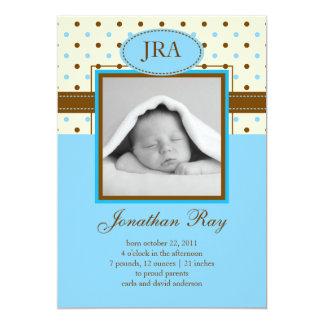 Faire-part de naissance de bébé de photo carton d'invitation  12,7 cm x 17,78 cm
