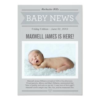 Faire-part de naissance | de bonnes nouvelles gris carton d'invitation  12,7 cm x 17,78 cm