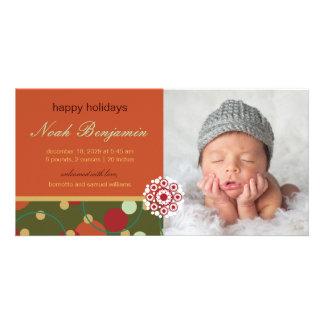 Faire-part de naissance de fête de vacances de cartes de vœux avec photo