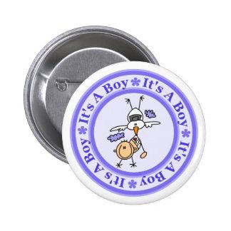 Faire-part de naissance de garçon badges avec agrafe
