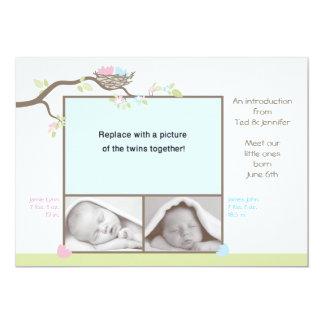 Faire-part de naissance de jumeaux - bébé et fille