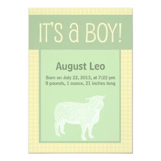 Faire-part de naissance de moutons de garçon