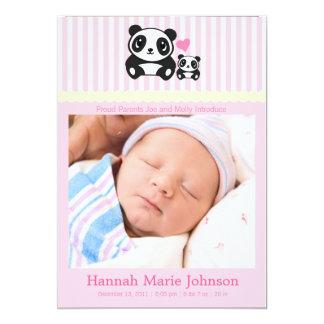 Faire-part de naissance de panda - rose