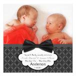 Faire-part de naissance de photo de bébé de jumeau