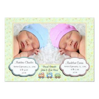 Faire-part de naissance de photo de jumeaux
