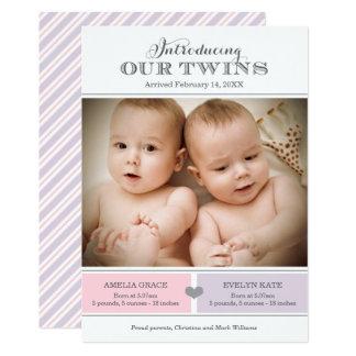 Faire-part de naissance | de photo de jumeaux deux