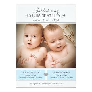 Faire-part de naissance | de photo de jumeaux deux carton d'invitation  12,7 cm x 17,78 cm