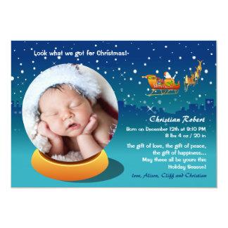 Faire-part de naissance de photo de Noël de globe