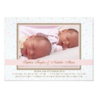 Faire-part de naissance de photo de rose de carton d'invitation  12,7 cm x 17,78 cm