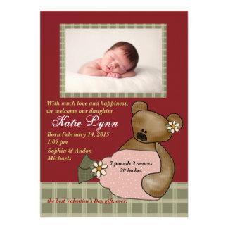 Faire-part de naissance de photo d'ours de marguer