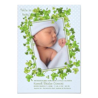 Faire-part de naissance de photo du bébé de St Carton D'invitation 12,7 Cm X 17,78 Cm