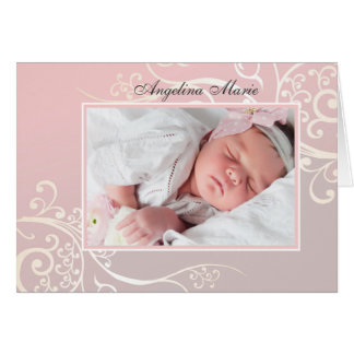 Faire-part de naissance de photo plié par rose de carte de vœux