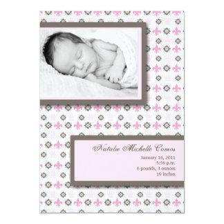 faire-part de naissance de Pink Fleur De Li Photo