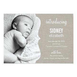 Faire-part de naissance de raffinage de bébé carton d'invitation  12,7 cm x 17,78 cm