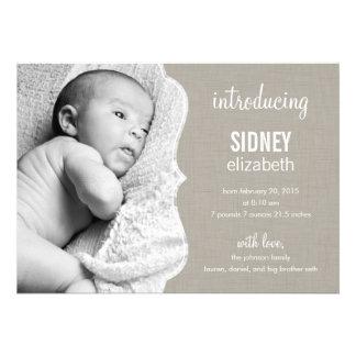 Faire-part de naissance de raffinage de bébé d'élé