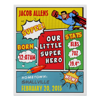 Faire-part de naissance de super héros - art de posters