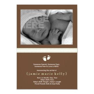 Faire-part de naissance d'étapes de bébé - menthe carton d'invitation  12,7 cm x 17,78 cm