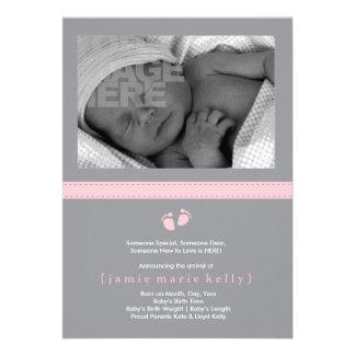 Faire-part de naissance d'étapes de bébé - rose
