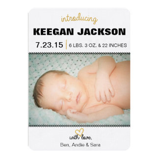 Faire-part de naissance d'or de scintillement carton d'invitation  12,7 cm x 17,78 cm
