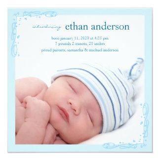 Faire-part de naissance doucement bleu de photo de