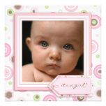 Faire-part de naissance doux de bébé de rose de po