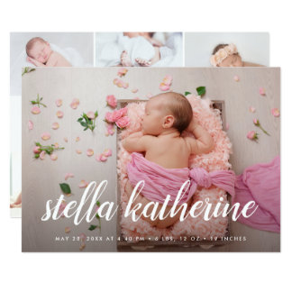 Faire-part de naissance doux de collage de photo