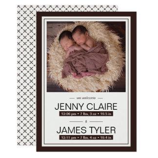 Faire-part de naissance élégant de bébé de jumeaux