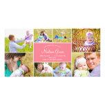 Faire-part de naissance élégant de collage - rose photocartes personnalisées
