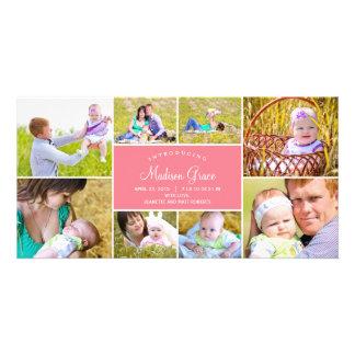 Faire-part de naissance élégant de collage - rose photocarte customisée