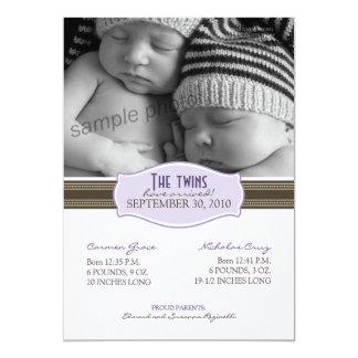 Faire-part de naissance élégant de jumeaux :