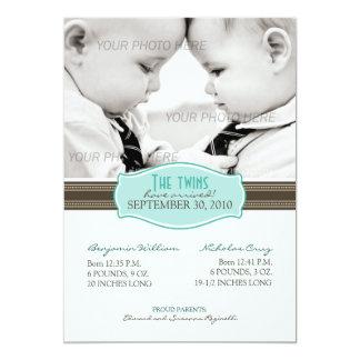 Faire-part de naissance élégant de jumeaux : Bleu