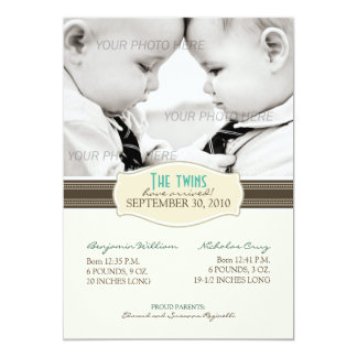 Faire-part de naissance élégant de jumeaux : Sépia
