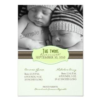 Faire-part de naissance élégant de jumeaux : Vert Carton D'invitation 12,7 Cm X 17,78 Cm