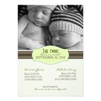 Faire-part de naissance élégant de jumeaux Vert