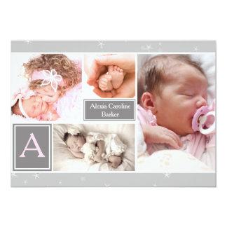 Faire-part de naissance étoilé de collage de carton d'invitation  12,7 cm x 17,78 cm