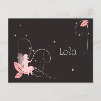 Faire-part de naissance fée rose étoiles arabesque postcard
