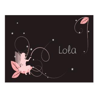 Faire-part de naissance fée rose étoiles arabesque carte postale