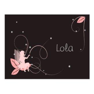 Faire-part de naissance fée rose étoiles arabesque cartes postales